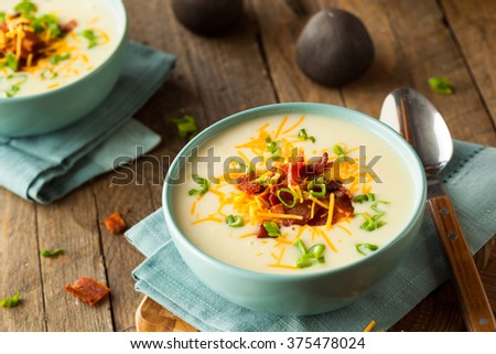Creamy Loaded Baked Potato Soup with Bacon and Cheese - stock photo