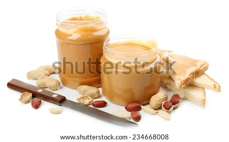 Creamy peanut butter, isolated on white - stock photo