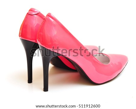 Creamy-pink high heel women shoe isolated on white background