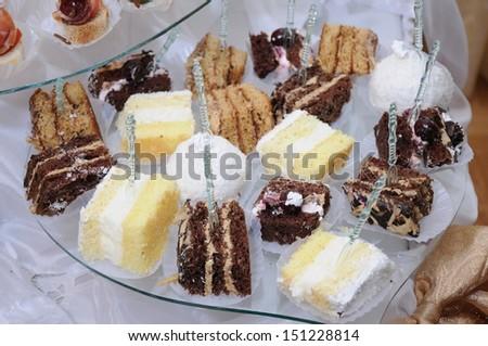 Creamy sponge cakes - stock photo