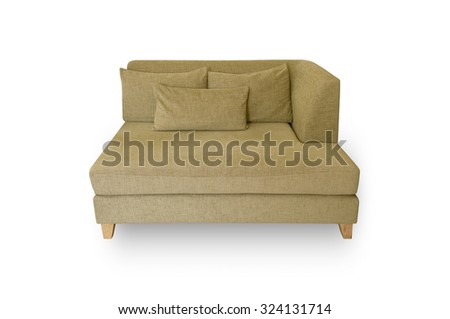 Creamy yellow sofa Pillow and leaning back on a white background.