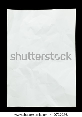 creased paper on isolated black background - stock photo