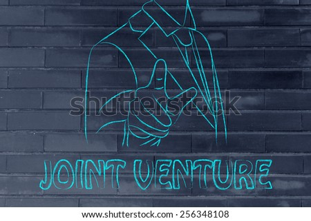 Create a join venture, business man illustration - stock photo