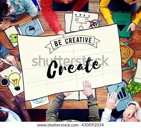 Create Creative Creativity Ideas Imagination Inspire Concept - stock photo