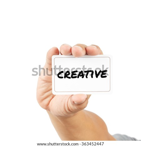 Create message on white card concept isolated on white with clipping path.
