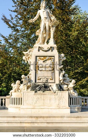 Created in 1896 Wolfgang Amadeus Mozart Statue Is Located in the Burggarten in Vienna - stock photo