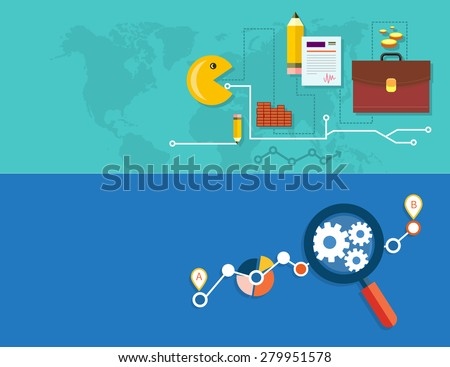 Creating business strategy plan, generating report. Growth chart with magnifying glass focusing on point. Representing success and financial growth. Graphical analysis in flat design. Raster version - stock photo
