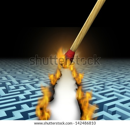 Creating new opportunities with innovative solutions and trail blazing or trailblazing business concept with a lit wooden match opening a clear road through a maze or labyrinth by burning path. - stock photo
