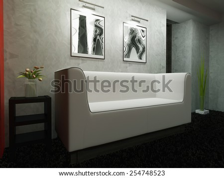 Creation stages, a modern interior of house space 3d rendering