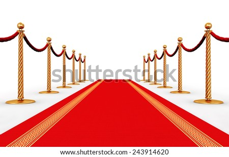 Creative abstract award ceremony and success in business concept: red carpet and golden chain barriers isolated on white background - stock photo