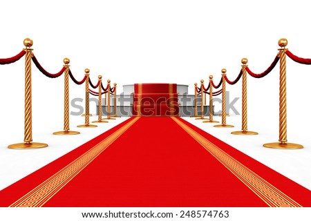 Creative abstract award ceremony and success in business concept: red carpet with pedestal podium scene and golden chain barriers isolated on white background