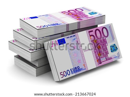 Creative abstract banking, money making and business success financial concept: heap of stacks of 500 Euro banknotes isolated on white background - stock photo