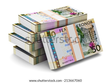 Creative abstract banking, money making and business success financial concept: heap of stacks of 50 Swedish krona banknotes isolated on white background - stock photo