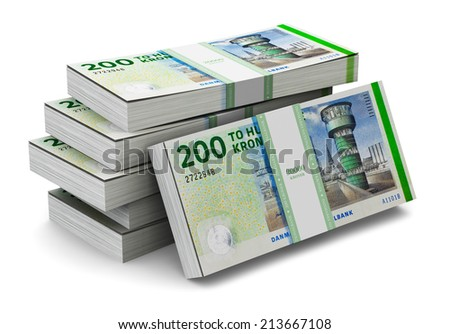 Creative abstract banking, money making and business success financial concept: heap of stacks of 200 Danish krone banknotes isolated on white background - stock photo
