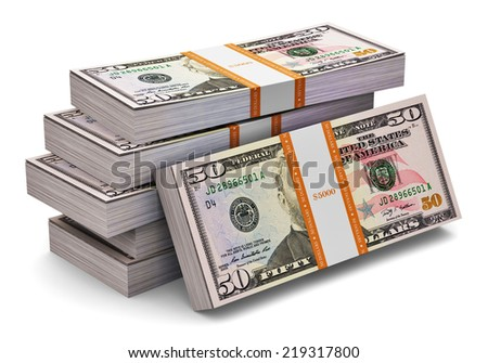 Creative abstract banking, money making and business success financial concept: heap of stacks of 50 dollars banknotes isolated on white background - stock photo