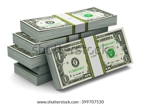 Creative abstract banking, money making and business success financial concept: heap of stacks of 1 dollar banknotes isolated on white background