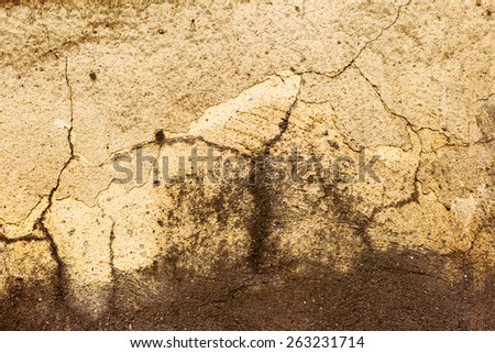 Creative Abstract brown background concrete, weathered with cracks and scratches. Landscape style. Grungy Concrete Surface. Great background or texture - stock photo