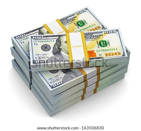 Creative abstract business, financial success and making money concept: stacks of new 100 US dollar 2013 edition banknotes or bills isolated on white background - stock photo