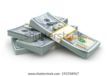 Creative abstract business, financial success and making money concept: stacks of new 100 US dollar bills isolated on white background