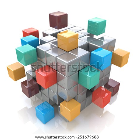 Creative abstract business teamwork, internet and communication concept: colorful cubic structure with assembling metallic cubes on white background - stock photo