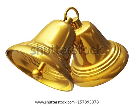 Creative abstract Christmas and New Year celebration concept: two golden Xmas bells isolated on white background - stock photo