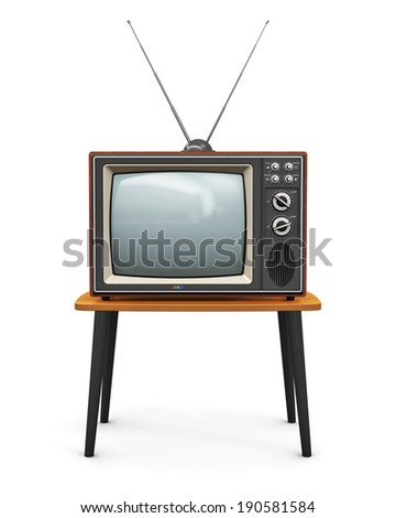 Creative abstract communication media and television business concept: old retro color wooden home TV receiver set with antenna on wood table isolated on white background - stock photo