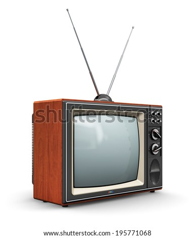 Creative abstract communication media and television business concept: old retro color wooden home TV receiver set with antenna isolated on white background
