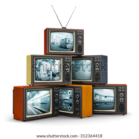 Creative abstract communication media and television channel broadcasting business concept: stack or pile of old retro color wooden home TV receiver sets with antenna isolated on white background - stock photo