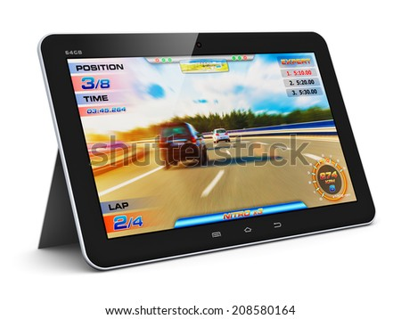 Creative abstract computer gaming and PC entertainment technology concept: modern black glossy touchscreen tablet with video game isolated on white background - stock photo