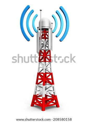 Creative abstract digital cellular telecommunication technology and wireless connection business concept: mobile base station or TV transmitter antenna pylon isolated on white background - stock photo