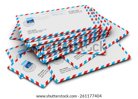 Creative abstract e-mail and communication correspondence business office paperwork concept: stack of paper air mail letter envelopes isolated on white background - stock photo