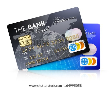 Creative abstract electronic banking and finance business concept: set of plastic credit cards isolated on white background with reflection effect - stock photo