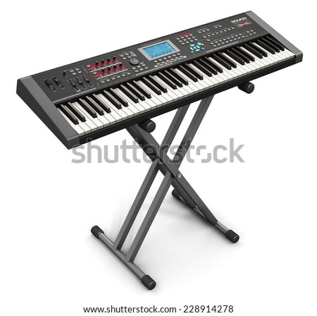 Creative abstract electronic music instrument and art creation concept: black professional digital musical piano synthesizer on stand isolated on white background - stock photo
