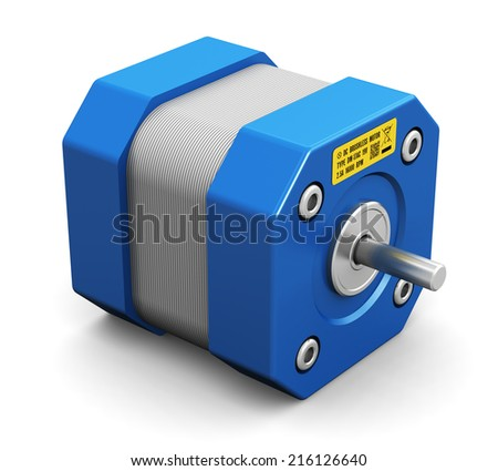 Creative abstract electronics and industrial engineering technology concept: small metal electric motor isolated on white background - stock photo