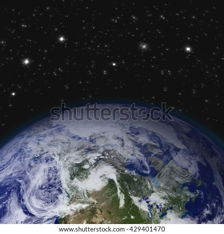 Creative abstract global communication scientific concept: space view of Earth planet globe with world map in Solar System of Universe. Elements of this image are furnished by NASA. - stock photo