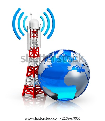 Creative abstract global wireless telecommunication technology and internet connection business concept: blue Earth globe with transmitter antenna pylon isolated on white background with reflection - stock photo
