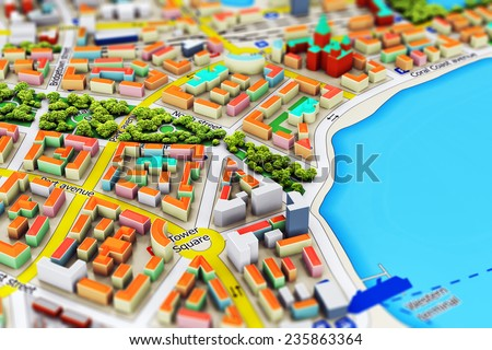 Creative abstract GPS satellite navigation, travel, tourism and location route planning business concept: macro view of miniature color city map with 3D buildings - stock photo