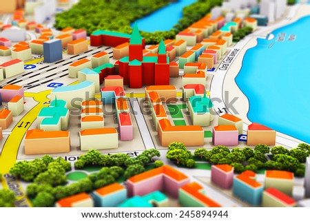 Creative abstract GPS satellite navigation, travel, tourism and location route planning business concept: macro view of miniature color city map with 3D buildings with selective focus effect - stock photo