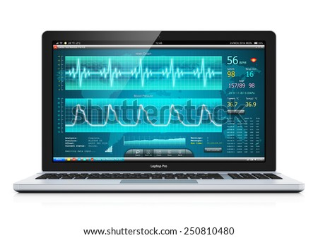 Creative abstract healthcare, medicine and cardiology tool concept: laptop or notebook computer PC with medical cardiologic diagnostic test software on screen isolated on white background - stock photo