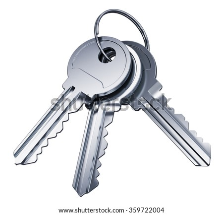 Creative abstract home security and house safety business success concept: bunch of shiny metal keys with ring isolated on white background - stock photo