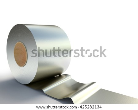 Creative abstract illustration coil auminium tape. Industrial three-dimensional image. 3D illustration on a white background with shadow.