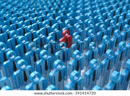 Creative abstract individuality, uniqueness and leadership business concept: single red 3D people figure in crowded group of blue figures with selective focus effect - stock photo