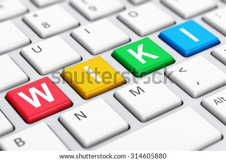 Creative abstract internet encyclopedia, knowledge database learning and online education studying concept: macro view of color Wiki word text on white computer PC or laptop notebook keyboard - stock photo