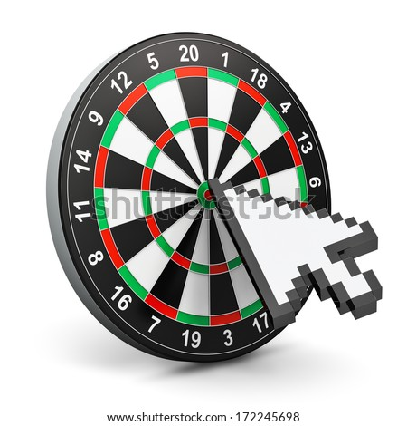 Creative abstract internet marketing and web success business technology concept: dartboard with computer mouse arrow cursor isolated in white background - stock photo