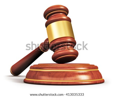 Creative abstract law, justice and auction lot bidding business concept: 3D render illustration of wooden gavel, mallet or hammer with wood stand isolated on white background