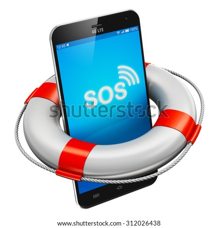 Creative abstract mobile security, emergency services and electronic devices repair and maintenance concept: modern black glossy touchscreen smartphone with lifesaver buoy isolated on white background - stock photo