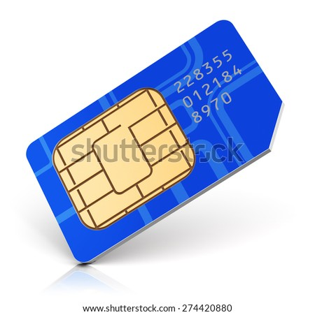Creative abstract mobile telecommunication, wireless technology and mobility business communication internet concept: blue SIM card for mobile phone or smartphone isolated on white background - stock photo