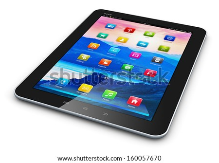 Creative abstract mobility technology and communication business concept: black glossy tablet PC mobile computer with colorful icon interface isolated on white background