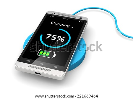Creative abstract modern communication technology business concept: wireless charging of modern black glossy metal touchscreen smartphone on wireless power charger isolated on white background - stock photo