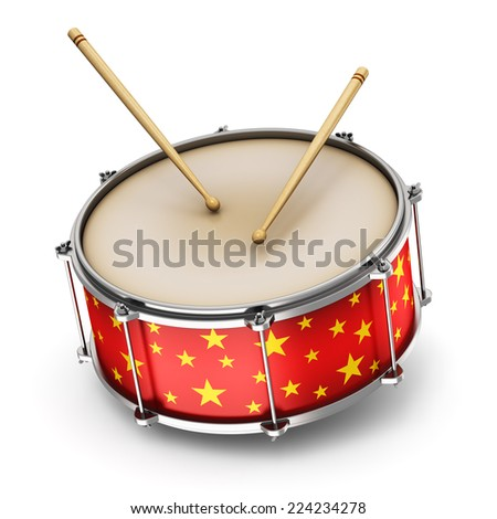 Creative abstract musical instrument concept: red drum with pair of drumsticks isolated on white background